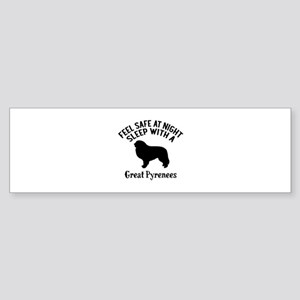 Sleep With Great Pyrenees Dog Des Sticker (Bumper)