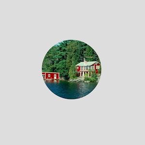 Lake Sunapee Red Boathouse Mini Button