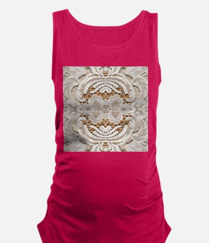 girly hipster vintage white lac Maternity Tank Top