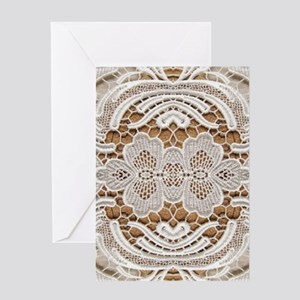 girly hipster vintage white lace Greeting Cards