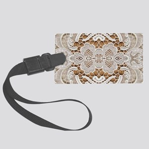 girly hipster vintage white lace Large Luggage Tag