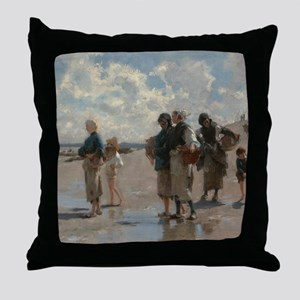 Fishing for Oysters at Cancale - John Throw Pillow
