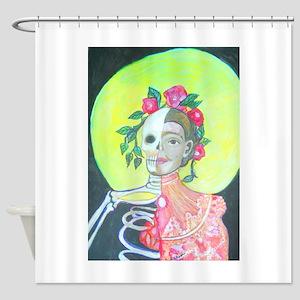 Dia de los Muertos women with Halo Shower Curtain