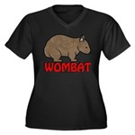 Wombat Logo Women's Plus Size V-Neck Dark T-Shirt