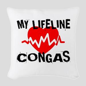 My Lifeline Congas Woven Throw Pillow