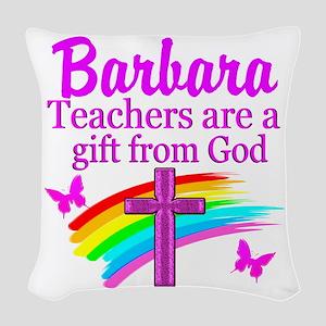 RELIGIOUS TEACHER Woven Throw Pillow