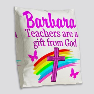 RELIGIOUS TEACHER Burlap Throw Pillow