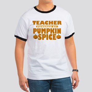 Teacher Powered by Pumpkin Spice Ringer T-Shirt