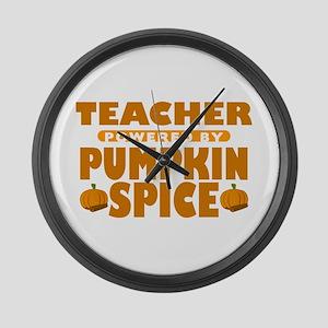 Teacher Powered by Pumpkin Spice Large Wall Clock