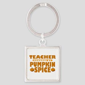Teacher Powered by Pumpkin Spice Square Keychain