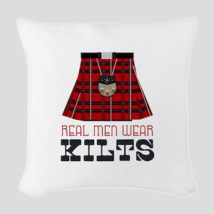Real Men Wear Kilts Woven Throw Pillow