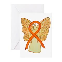Orange Awareness Ribbon Angel Greeting Cards