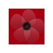 Bright Red Floral Square Sticker 3