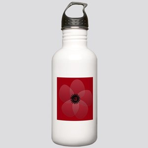 Bright Red Floral Stainless Water Bottle 1.0L