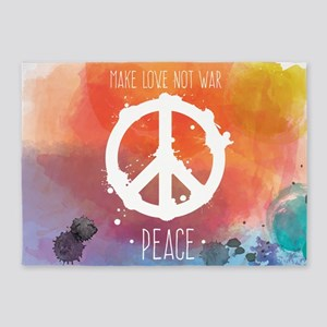 Peace Sign 5'x7'Area Rug