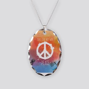 Peace Sign Necklace Oval Charm