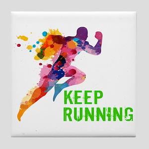 Keep Running Tile Coaster