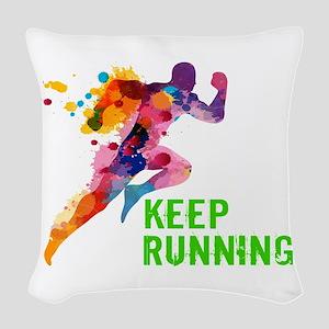 Keep Running Woven Throw Pillow