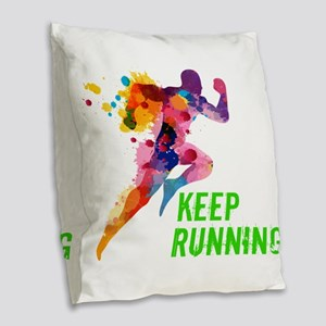 Keep Running Burlap Throw Pillow