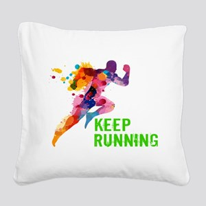 Keep Running Square Canvas Pillow