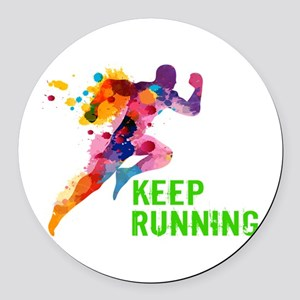 Keep Running Round Car Magnet