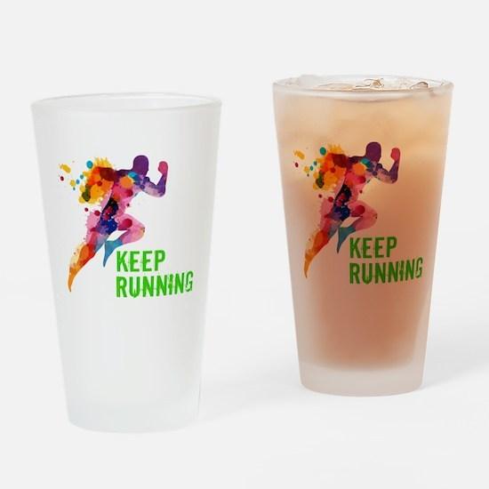 Keep Running Drinking Glass