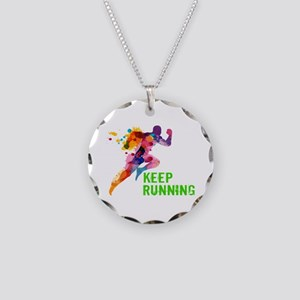 Keep Running Necklace Circle Charm