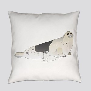 Mom and Baby Harp Seals Everyday Pillow