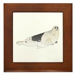 Mom and Baby Harp Seals Framed Tile