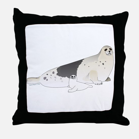 Mom and Baby Harp Seals Throw Pillow
