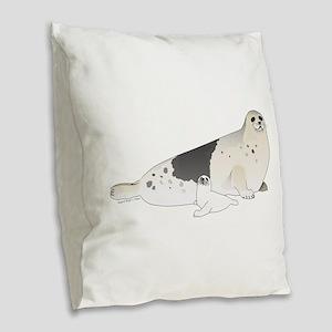 Mom and Baby Harp Seals Burlap Throw Pillow