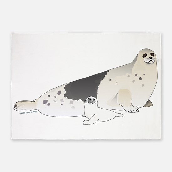 Mom and Baby Harp Seals 5'x7'Area Rug