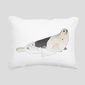 Mom and Baby Harp Seals Rectangular Canvas Pillow
