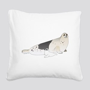 Mom and Baby Harp Seals Square Canvas Pillow