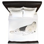 Mom and Baby Harp Seals King Duvet