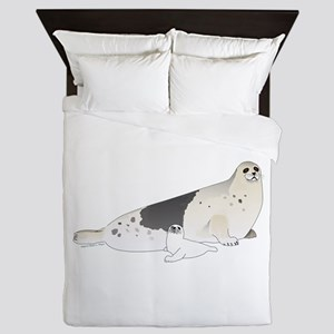 Mom and Baby Harp Seals Queen Duvet