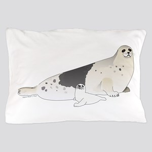 Mom and Baby Harp Seals Pillow Case