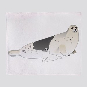 Mom and Baby Harp Seals Throw Blanket