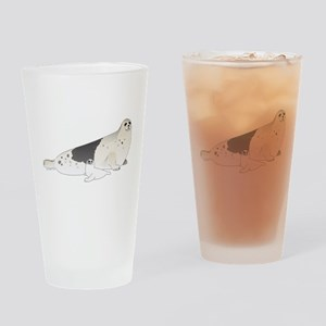 Mom and Baby Harp Seals Drinking Glass