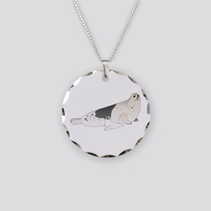 Mom and Baby Harp Seals Necklace