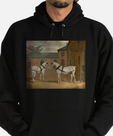 Grey Carriage Horses in The Coachyar Hoodie (dark)