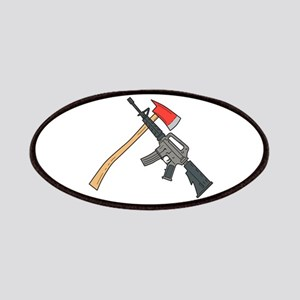 Crossed Fire Ax and M4 Carbine Rifle Drawing Patch