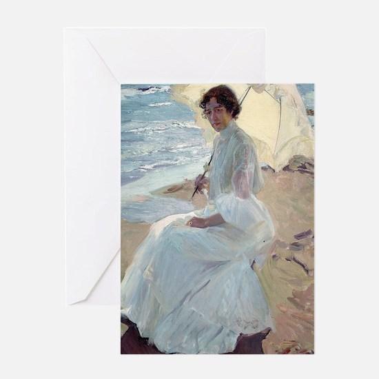 Clotilde on the Beach - Joaquín Sor Greeting Cards