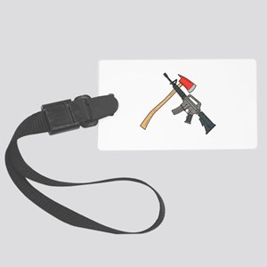 Crossed Fire Ax and M4 Carbine Rifle Drawing Lugga