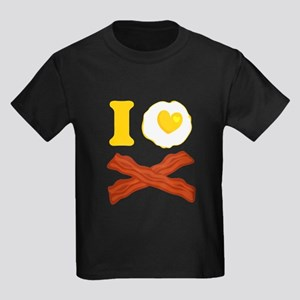 I Love Bacon And Eggs Kids Dark T-Shirt