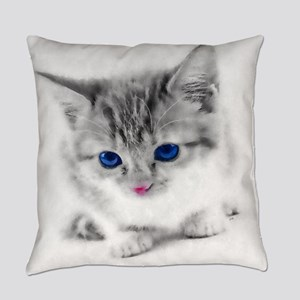 Adorable Blue-eyed Kitten Everyday Pillow