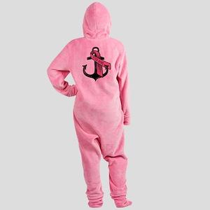 PERSONALIZED Pink Ribbon Anchor Footed Pajamas