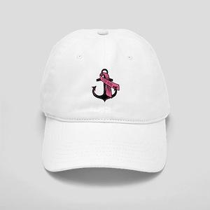PERSONALIZED Pink Ribbon Anchor Baseball Cap