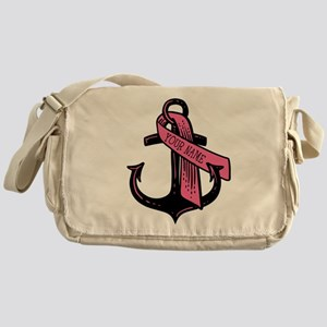 PERSONALIZED Pink Ribbon Anchor Messenger Bag