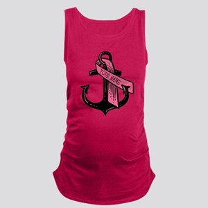 PERSONALIZED Pink Ribbon Anchor Maternity Tank Top